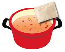 和食のおだしをお鍋に入れる